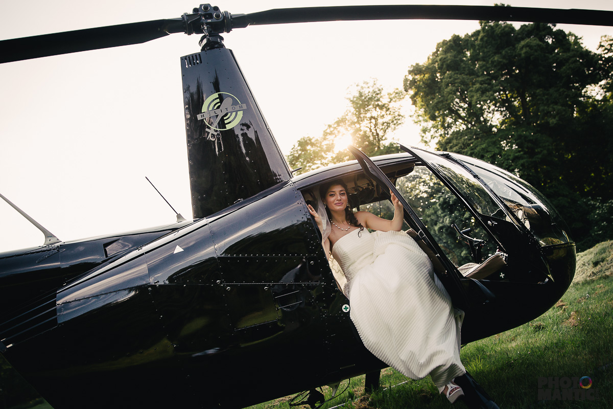 helicopter at wedding